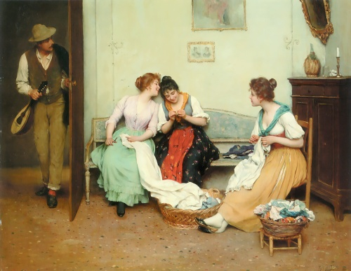 Eugene de Blaas (1843-1932) The Friendly Gossip