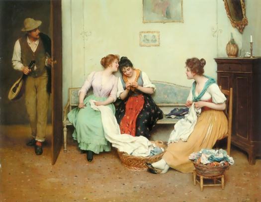 Eugene de Blaas (1843-1932) The Friendly Gossip