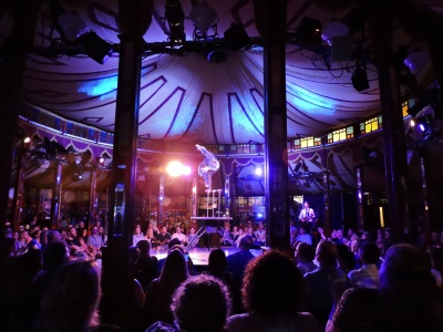 The Cabinet of Wonders show takes place daily in the Spiegeltent.