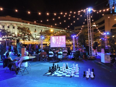 Catch a movie under the stars at the Pedestrian Drive In.