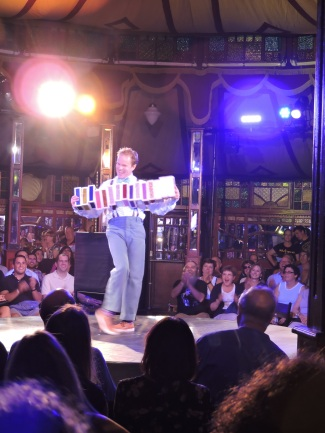 Lots of comedy at The Cabinet of Wonders show, which takes place daily in the Spiegeltent.