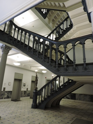 Inside the Powers Building, on the first floor. The staircases!