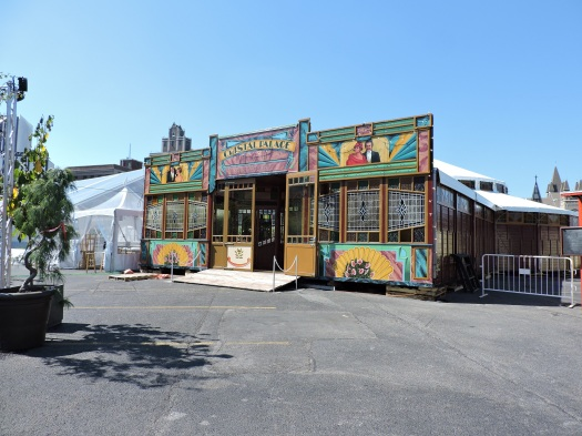 The Cristal Palace, from Fringe Fest 2015, is currently being assembled for this year's festival.