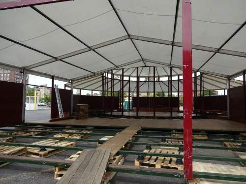 Spiegeltent, under assembly.