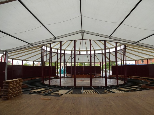 "The Spiegeltent, under assembly, will house the headliner, ""Cirque du Fringe."""