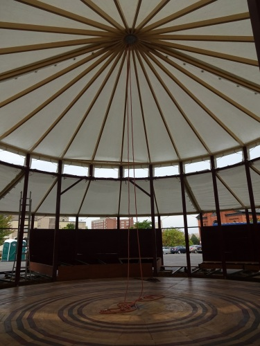 Inside the Spiegeltent today, as it's being assembled for the upcoming festival.