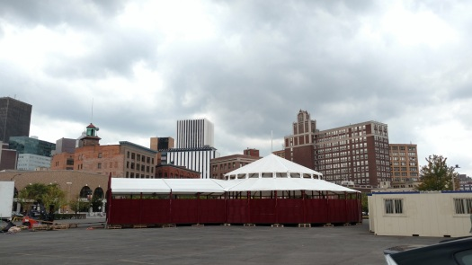 The Spiegeltent, the centerpiece of the downtown headquarters for Rochester Fringe Festival, is being assembled today.